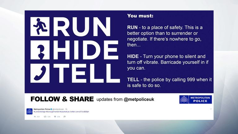 Children and teenagers are being warned to follow 'Run, Hide, Tell' advice