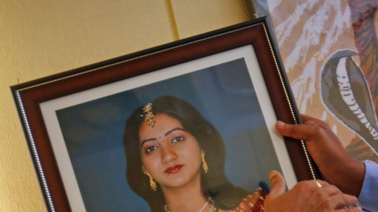 A portrait of Savita Halappanavar who died after allegedly being refused an abortion in Ireland