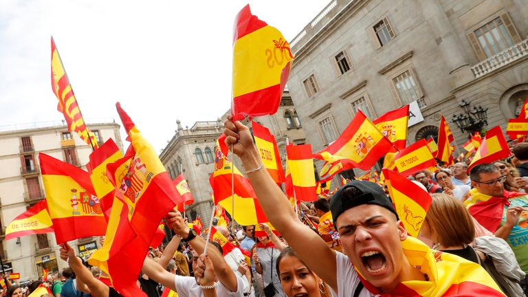 There have also been anti-independence demonstrations in Barcelona and other cities