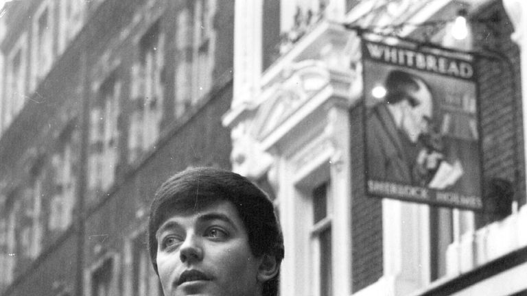 Tony Blackburn outside the Sherlock Holmes pub in Northumberland Street, London, in 1968