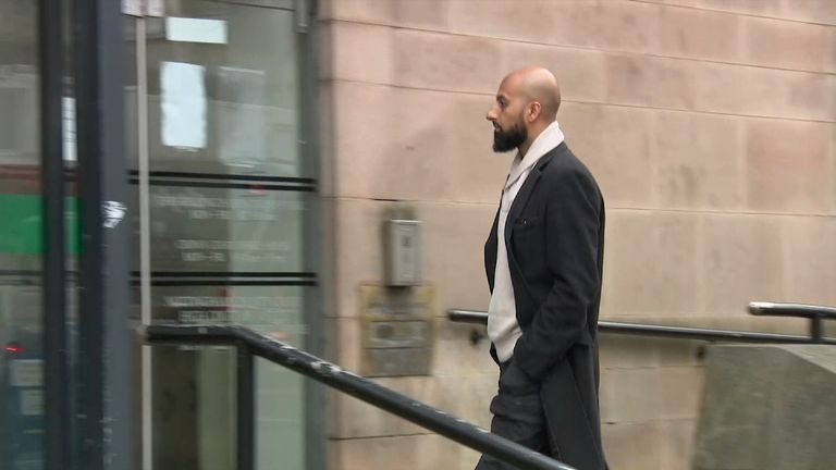 ce grab of arrival shot of Zameer Ghumra at Nottingham Crown Court