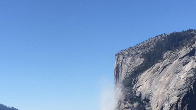 The rockfall from the face of the El Capitan. Pic: Jon Kameen/PA Wire