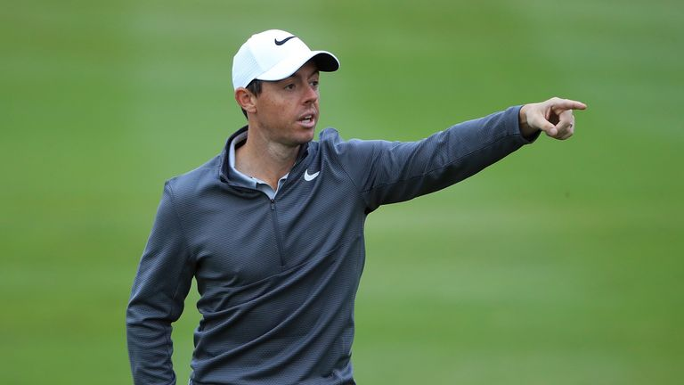 NEWCASTLE UPON TYNE, ENGLAND - SEPTEMBER 27:  Rory McIlroy of Northern Ireland gestures on the 3rd hole ahead of the British Masters at Close House Golf Cl