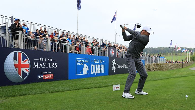 NEWCASTLE UPON TYNE, ENGLAND - SEPTEMBER 27:  Rory McIlroy of Northern Ireland hits his tee shot on the 1st hole during the pro am ahead of the British Mas