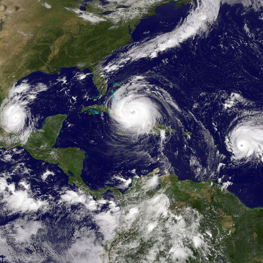 A NASA image shows the three hurricanes around the Gulf of Mexico