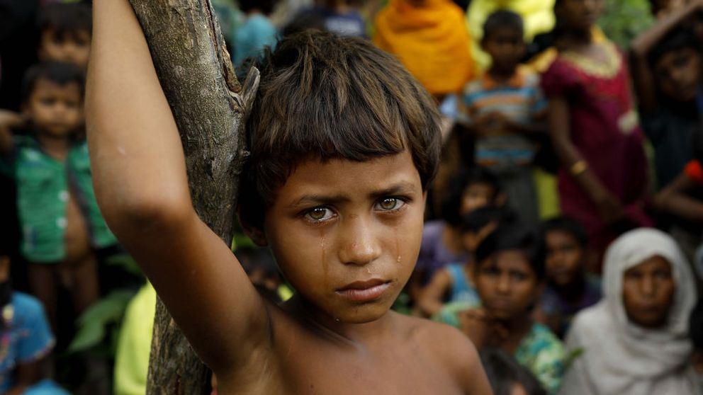 A Rohingya girl at a refugee camp on the Bangladesh-Myanmar border