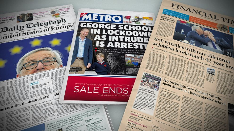 Thursday's newspaper front pages