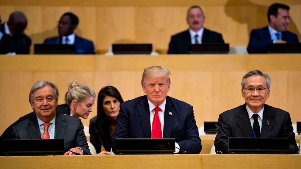 UN Secretary General Antonio Guterres (L), US Ambassador to the UN Nikki Haley (L rear), US President Donald Trump (C) and Thailand's Foreign Minister Don Pramudwinai wait for a meeting on United Nations Reform at the UN headquarters on September 18, 2017 in New York City