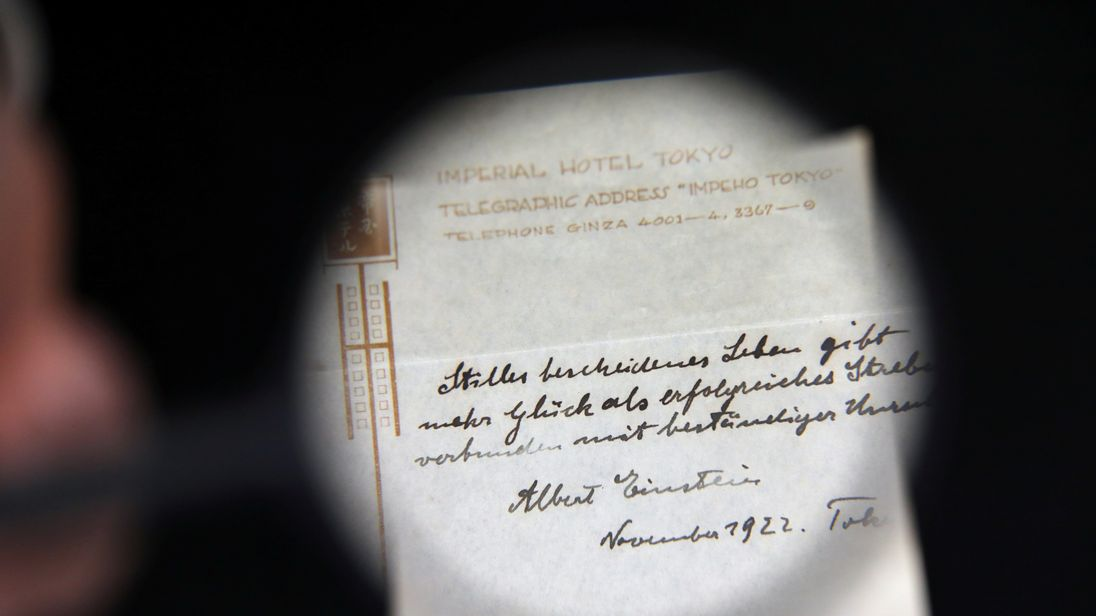 The tip Albert Einstein left for the bellboy in Japan