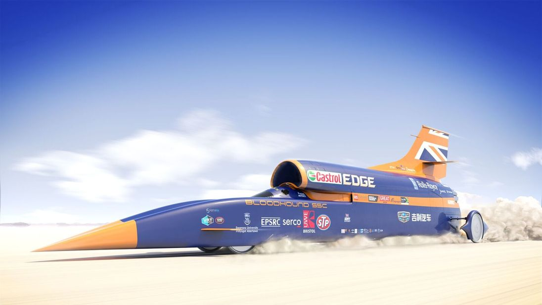 Bloodhound supersonic auto has first public test drive