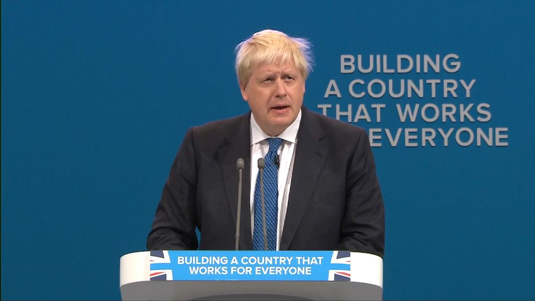 Boris Johnson addresses the Conservative Party conference in Manchester