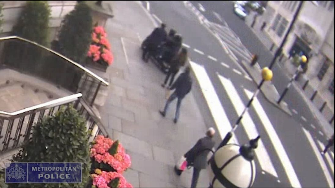 Met Police CCTV shows moped gang targeting former chancellor George Osborne in London