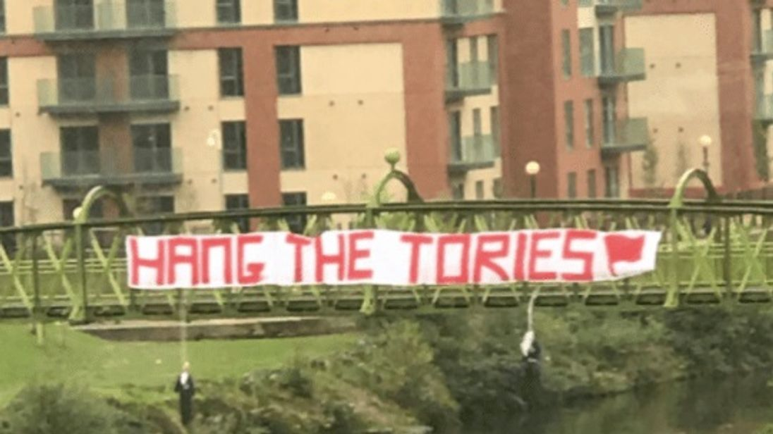 A picture of a banner taken by MP Michael Fabricant in Manchester