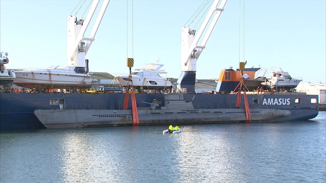 La Rochelle harbour sees a replica German U-boat deposited in its waters for filming of Das Boot