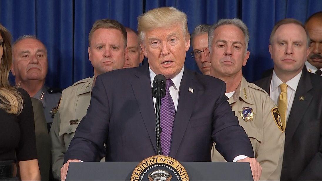 Donald Trump speaks in the company of Las Vegas police