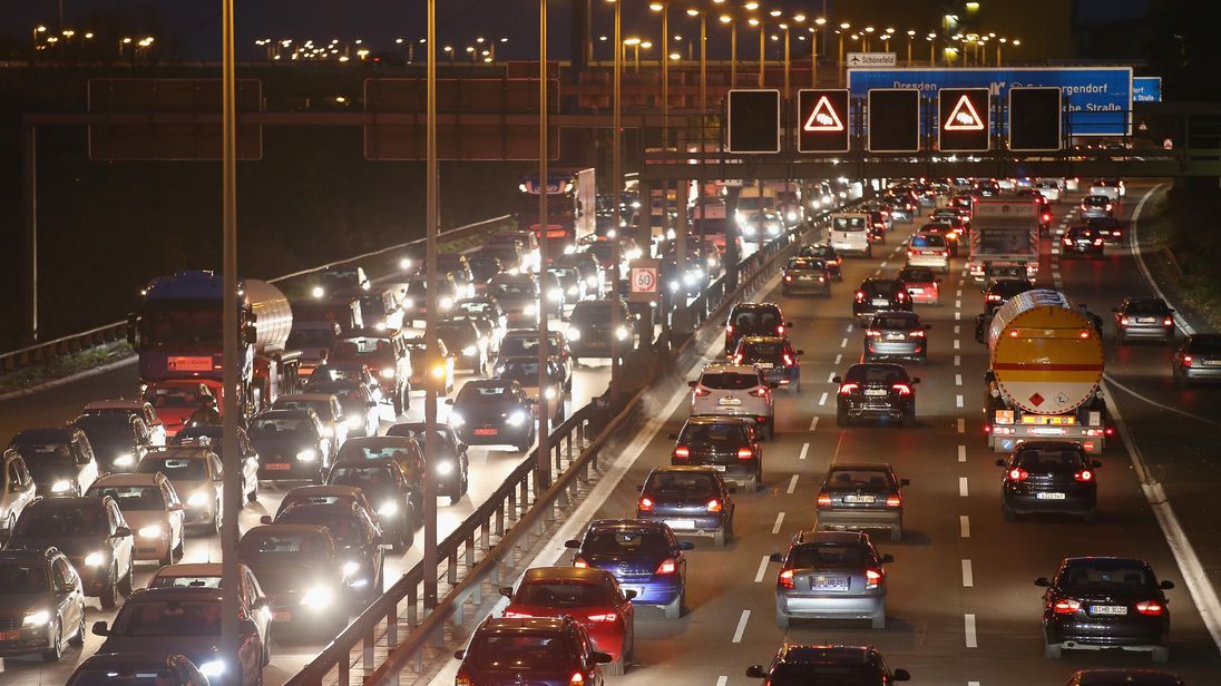 Foreigners will be charged for using autobahns like this one near Berlin, pictured in 2014