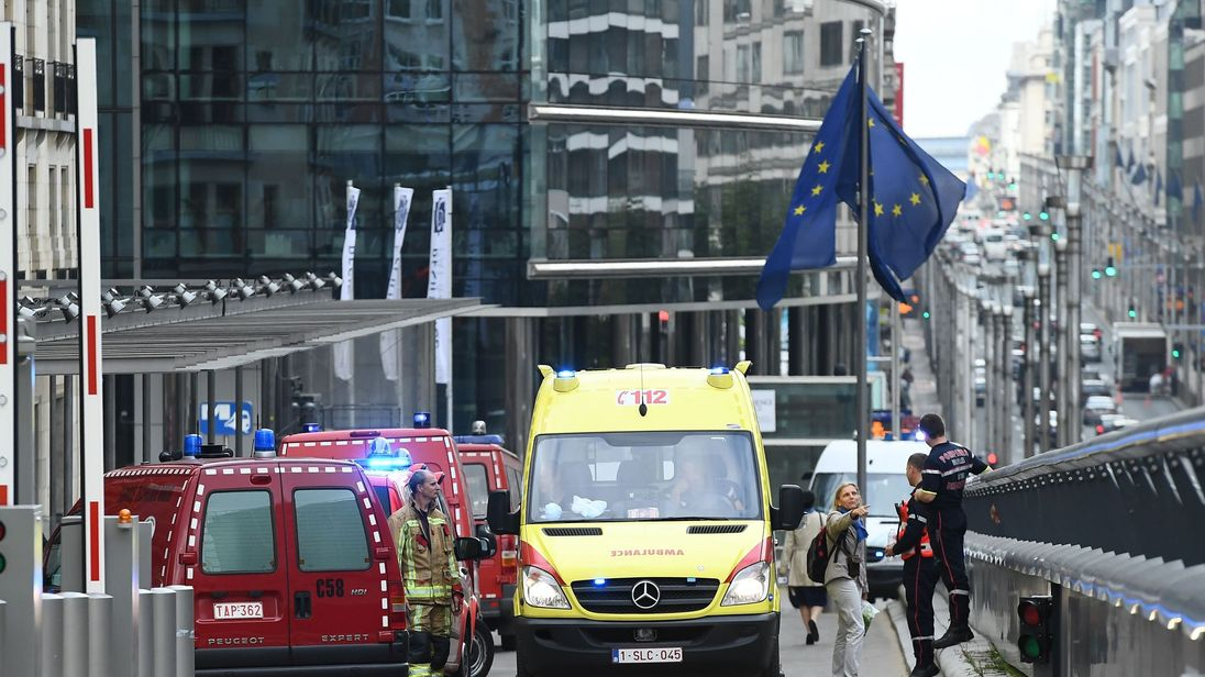 Belgian rescue personnel arrive at The European Council in Brussels