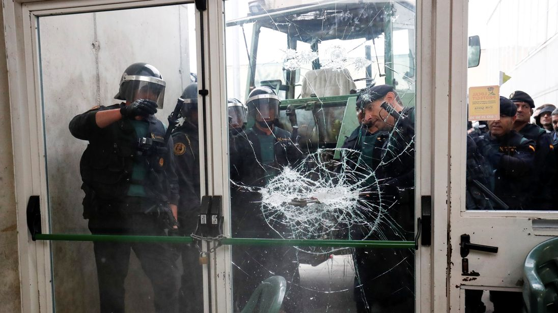 A hammer was used to smash into a polling station in in Sant Julia de Ramis, near Girona