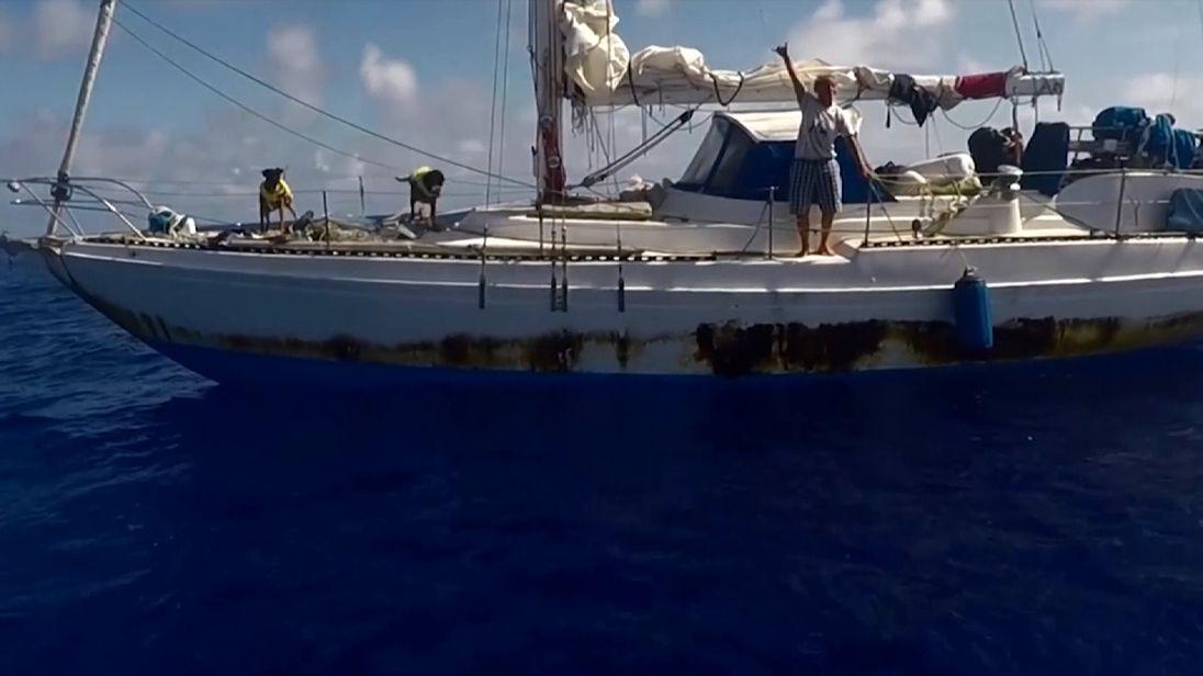Jennifer Appel greets the rescue ship