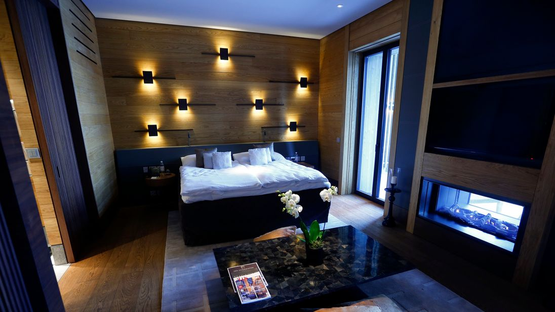 A general view shows standard guest room in The Chedi Andermatt hotel during a media preview in the central Swiss town of Andermatt, some 30 km (19 miles) south of Altdorf, December 9, 2013.