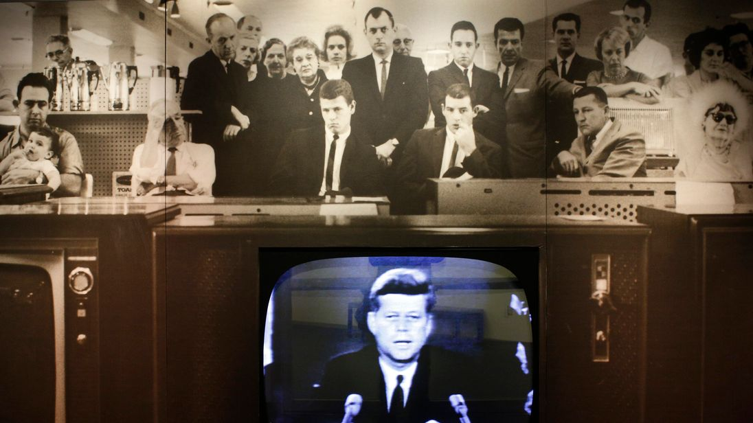 John F Kennedy gives an address about the Cuban missile crisis