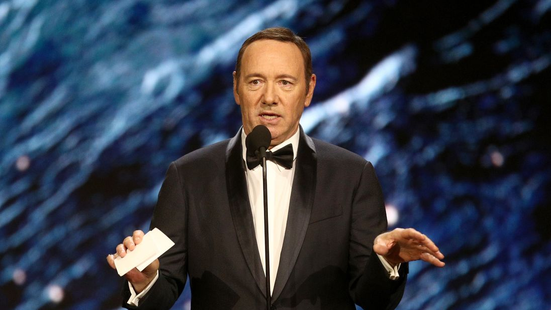 Kevin Spacey onstage to present Britannia Award for Excellence in Television presented by Swarovski at the 2017 AMD British Academy Britannia Awards