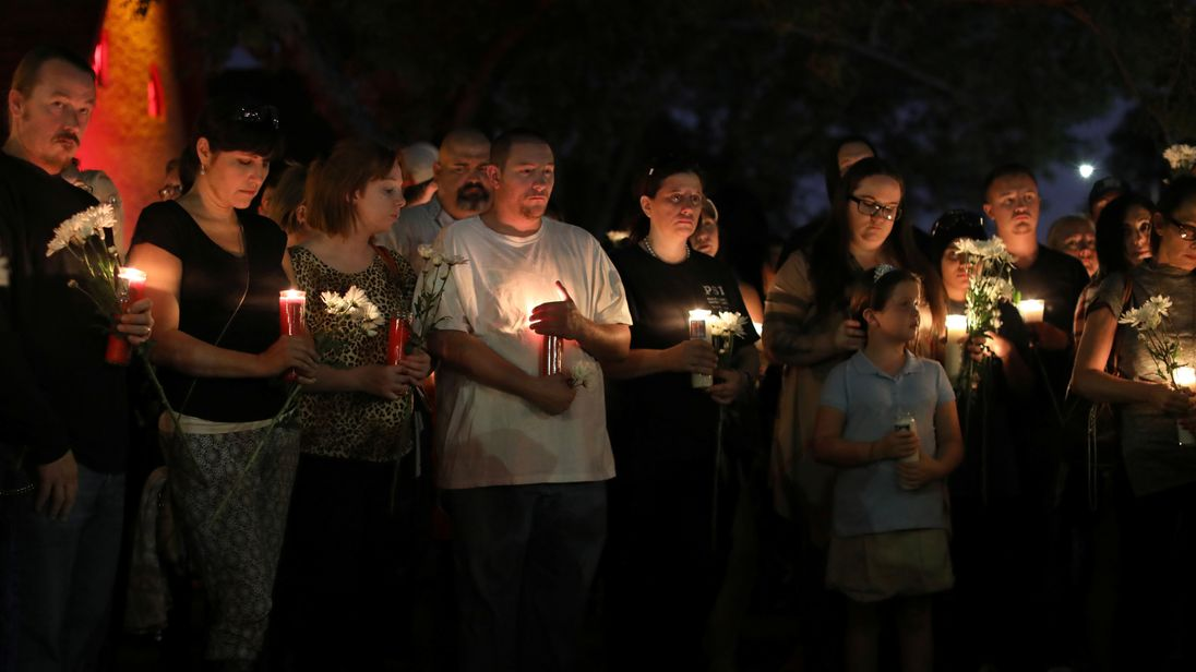 A candle-lit vigil in memory in of the Las Vegas victims