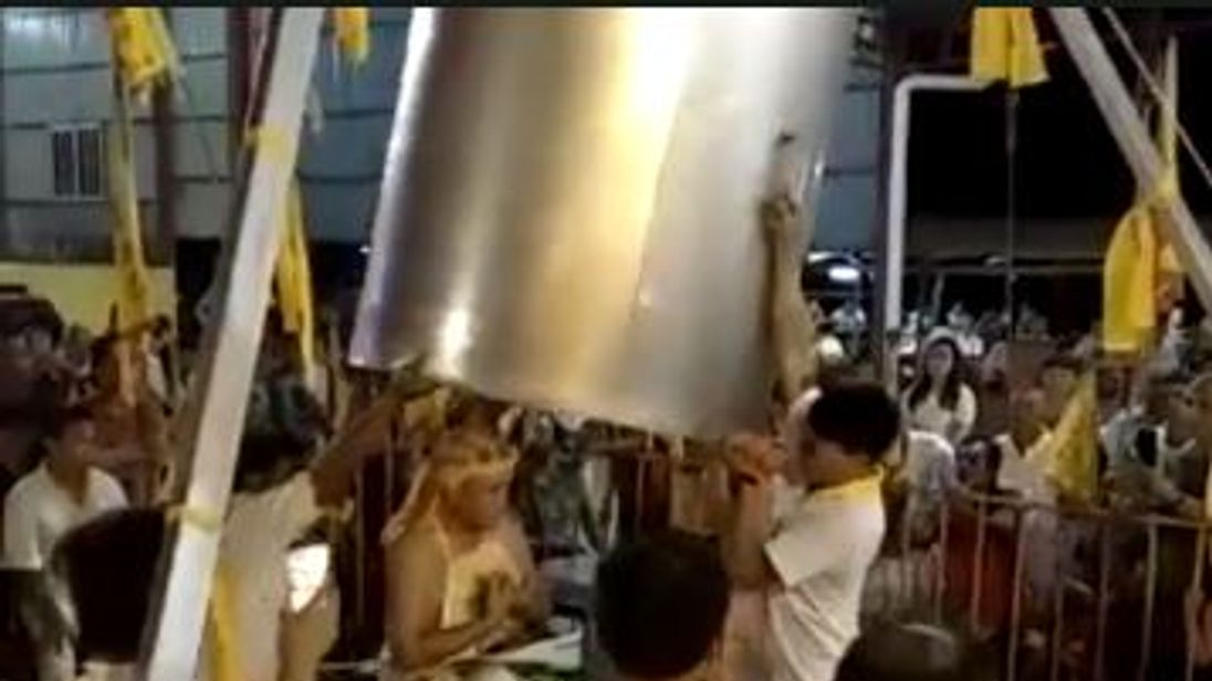 Lim Ba on top of the wok before the stunt went took a turn for the worst. Pic: Star TV