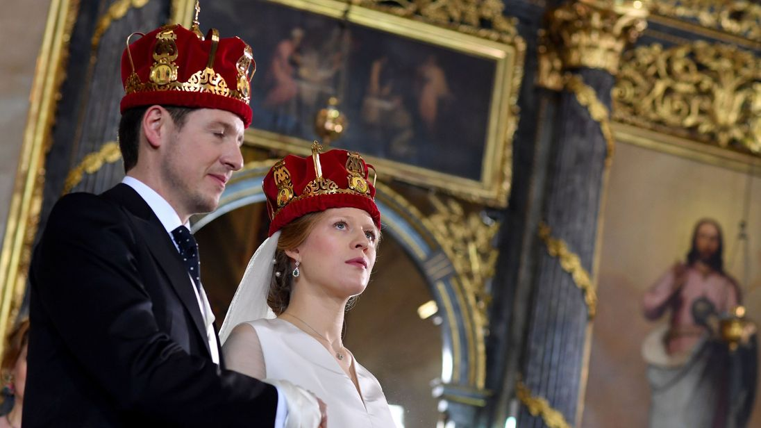 Prince Philip of Serbia with his bride Danica Marinkovic at their wedding ceremony