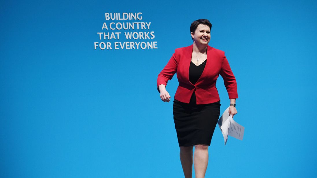 Ruth Davidson on stage before speaking at the Conservative party conference
