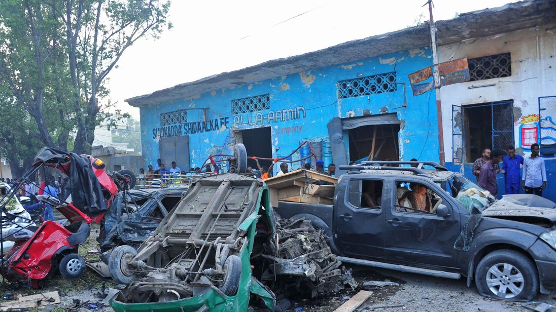 A car packed with explosives blew up outside a hotel in Mogadishu on 28 October