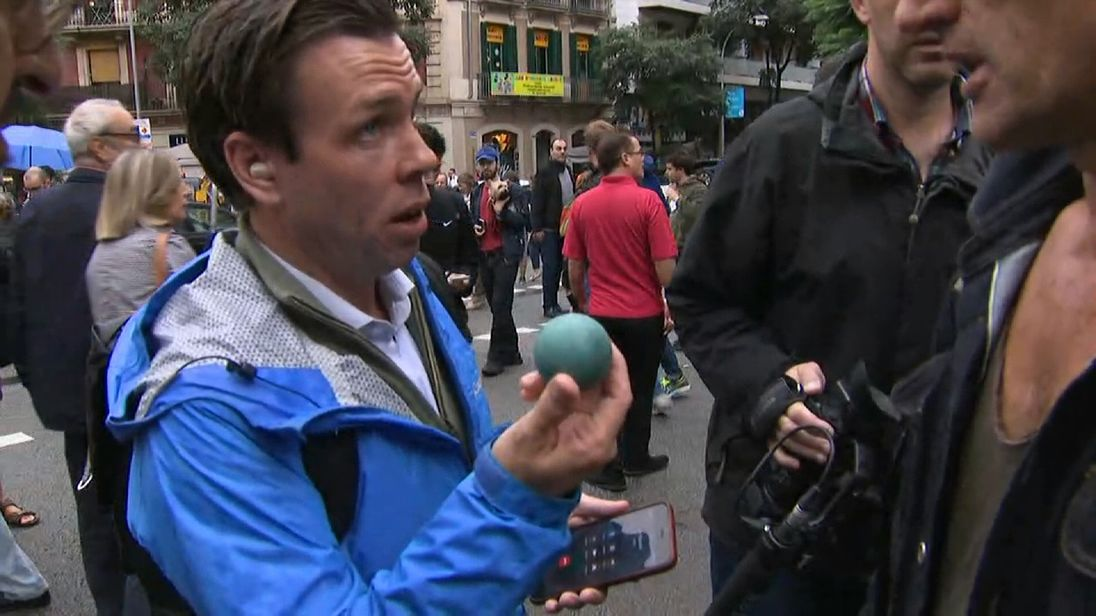 Sky News' Mark Stone with one of the projectiles fired at voters by police