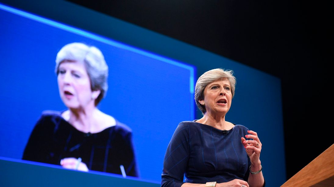 Britain's Prime Minister Theresa May delivers her speech on the final day of the Conservative Party annual conference at the Manchester Central Convention Centre in Manchester, northwest England, on October 4, 2017. / AFP PHOTO / Oli SCARFF (Photo credit should read OLI SCARFF/AFP/Getty Images)