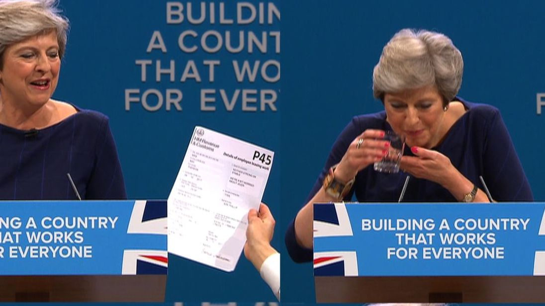 Theresa May suffered a series of awkward moments in her conference speech