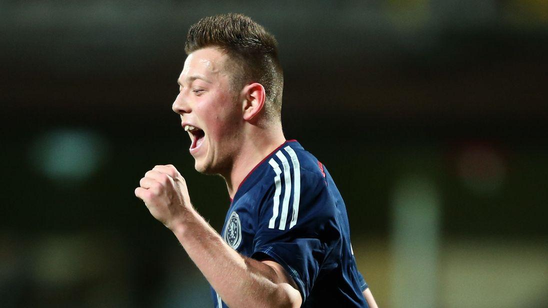 Scotland U21s' Callum McGregor celebrates scoring during the International Friendly at Tannadice Park, Dundee, 2014