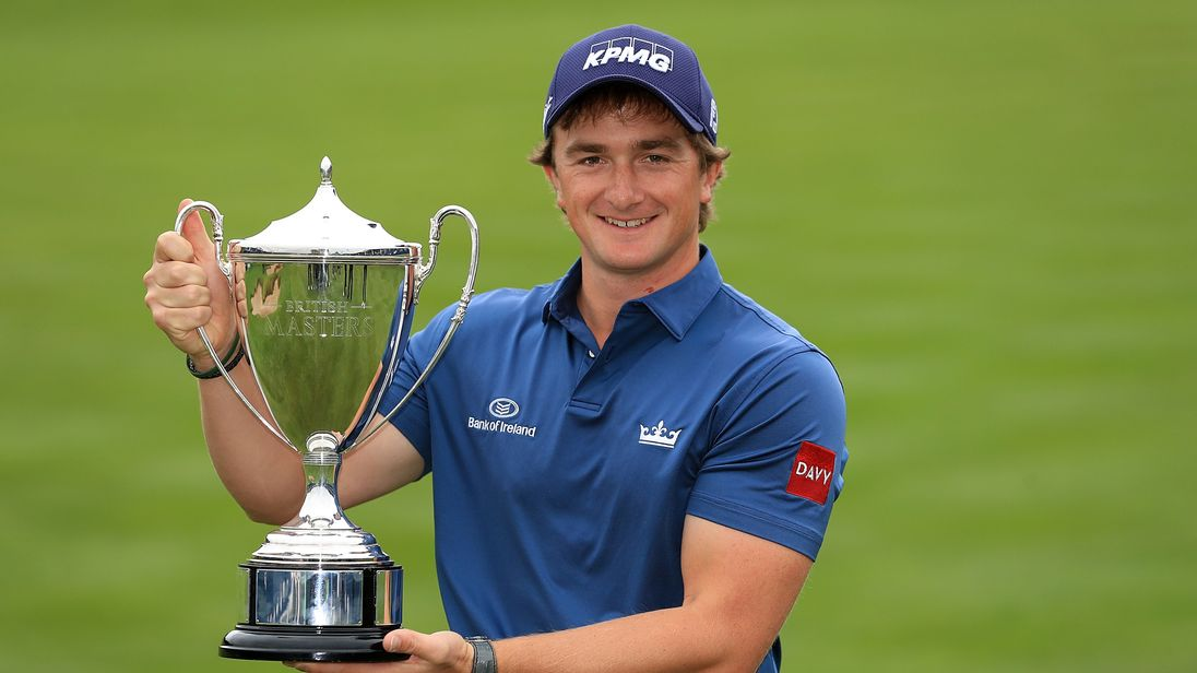 NEWCASTLE UPON TYNE, ENGLAND - OCTOBER 01:  Paul Dunne of Ireland celebrates with the trophy during day four of the British Masters at Close House Golf Clu