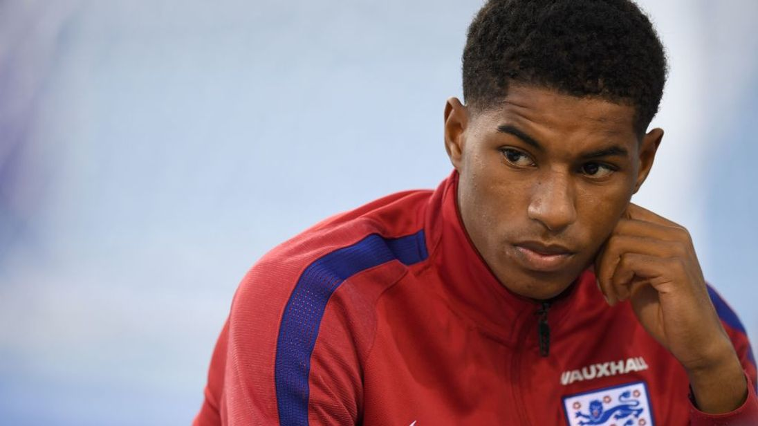 England's striker Marcus Rashford attends a press conference at St George's Park in Burton-on-Trent on October 2, 2017