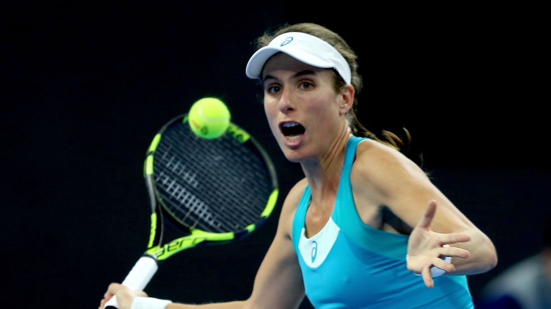 Johanna Konta of Great Britan returns a shot against Monica Niculescu of Romania on day two of the 2017 China Open