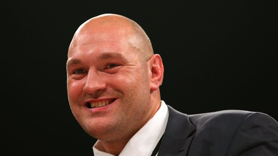 MANCHESTER, ENGLAND - SEPTEMBER 23:  Tyson Fury looks on from the ring after arriving ahead of the WBO World Heavyweight Title fight between Joseph Parker