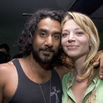 NEW YORK - APRIL 10: (U.S. TABLOIDS AND HOLLYWOOD REPORTER OUT) Actor Naveen Andrews poses with Katherine Kendall at the after party for The Notorious Bettie Page hosted by Picturehouse and Interview repository at bar Bed on Apr 10, 2006 in New York City. (Photo by Mat Szwajkos/Getty Images.)