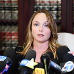LOS ANGELES, CA - OCTOBER 10: Attorney Gloria Allred's client Louisette Geiss speak during a press conference about her allegations of sexual harassment by Harvey Weinstein at Allred's office October 10, 2017 in Los Angeles, California. Weinstein has been accused of sexual harassment by multiple women. (Photo by Emma McIntyre/Getty Images)