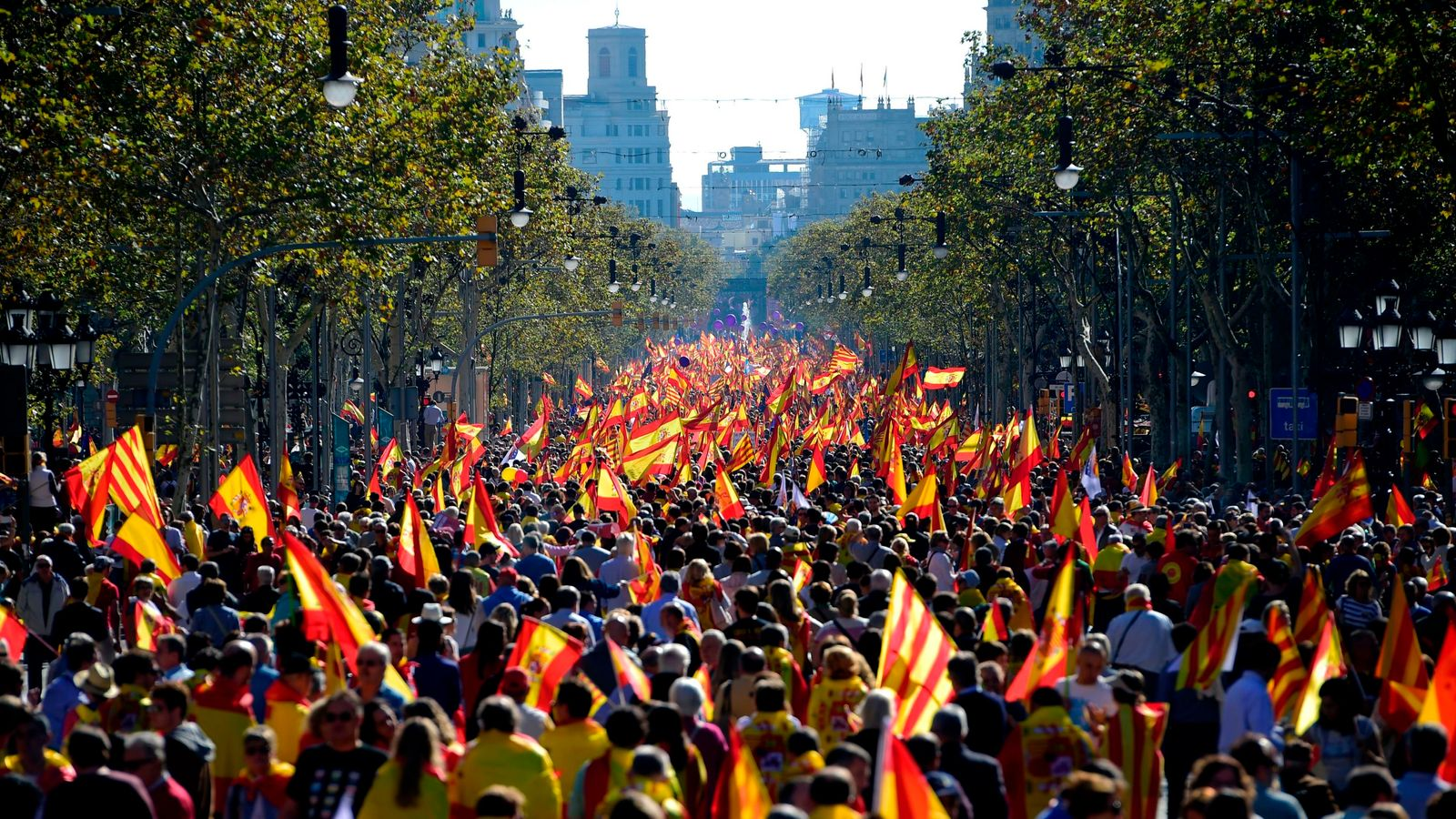 catalonia anti independence protesters stage large rally in barcelona