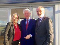 The ex-president also met Sinn Fein's Michelle O'Neill and Gerry Adams
