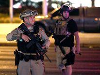Las Vegas Metropolitan Police officers patrol Tropicana Ave