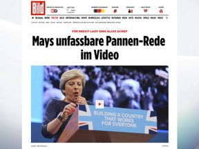 How Bild covered Theresa May's speech at the Conservative party conference in Manchester