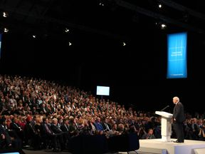 Johnson's jibes were well received by the crowd in Manchester