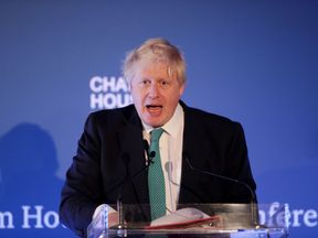 Boris Johnson giving a lecture at a Chatham House event