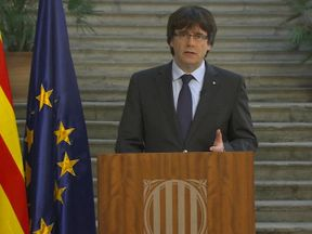 Catalonia's disputed president Carles Puigdemont makes a television address