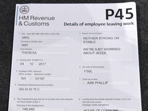 The P45 handed to Theresa May at the Tory conference in Manchester