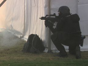 An armed officer takes aim during the exercise in Edinburgh
